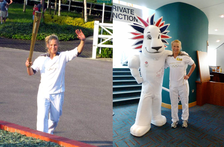 Suzanne running her leg of the torch relay and posing with Pride the Lion, official mascot of Team Great Britain for the 2012 London Summer Olympic Games